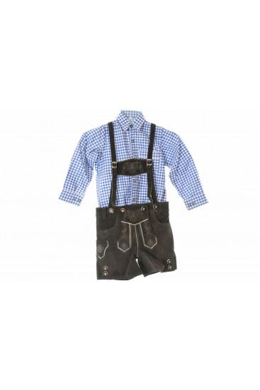 Kids Dark Brown  Lederhosen & Blue Shirt Set