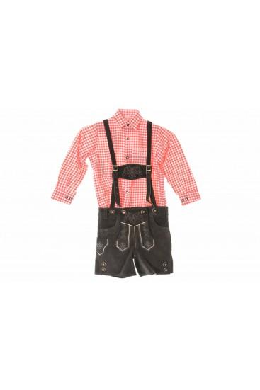 Kids Dark Brown  Lederhosen & Red Shirt Set