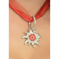 "Dirndl Necklace ""Edelweiss"" red"