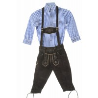 Kids Dark Brown  Bundhosen & Blue Shirt Set