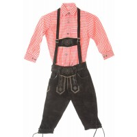 Kids Dark Brown Bundhosen & Red Shirt Set