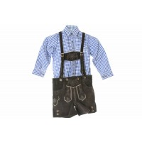 Kids Dark Brown  Lederhosen & Blue Shirt Set