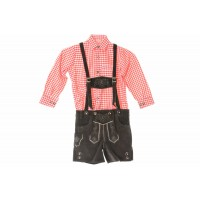 Kids Dark Brown  Lederhosen & Red Shirt Set