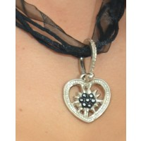 "Necklace ""HEART with Edelweiss"" black"