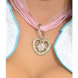 "Necklace ""HEART with Edelweiss"" pink"